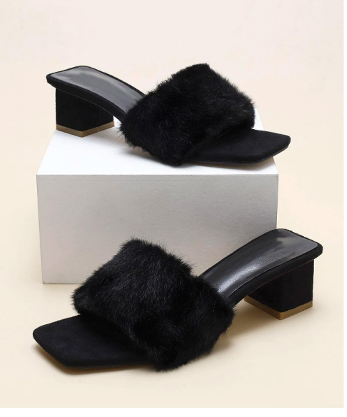 fur detail black heel