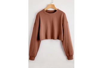 Patina Brown Drop Shoulder Crop Sweatshirt