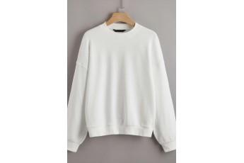 Drop Shoulder Solid Pullover White Colour