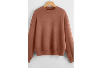 Drop Shoulder Solid Pullover Brown Colour