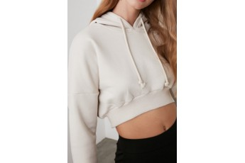 Trendy Cropped White Hooded Jacket