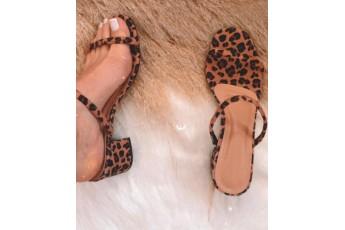 Leopard strap slip on tan heel