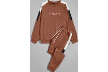 Men Contrast Sideseam Letter Pullover and Joggers Set