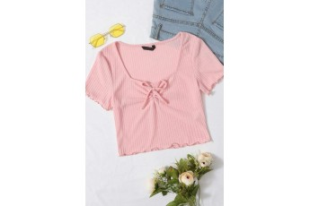 The Bon Voyage Ribbed Peach Top