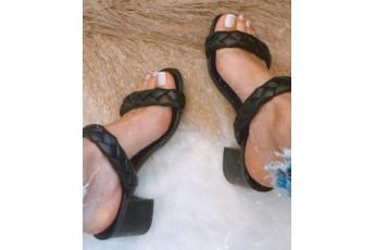 Peek a boo black braided heels