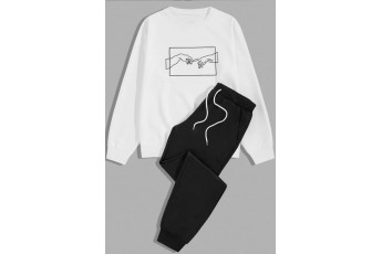 Set of 2- Hand Printed White Sweatshirt with Trouser