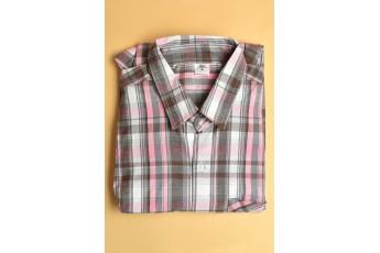 Combination Grey Pink Regular Plaid Men Shirt