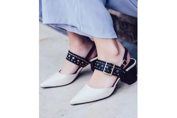 A subway walk stud detail black & white heels