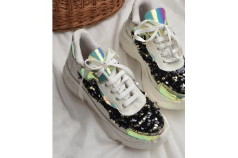 A little dazzle up embellished white sneakers
