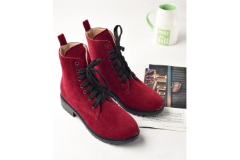 Red tone combat boots