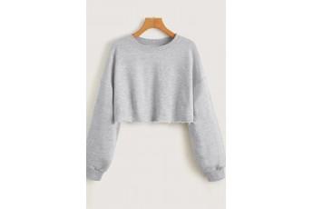 Light Grey Drop Shoulder Crop Sweatshirt