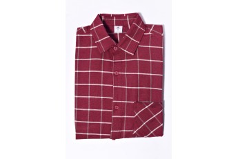 Men Marsala Checked Casual Shirt