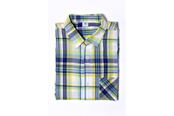 Men's Yellow and Blue Checked Full Sleeve
