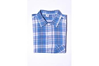 Men Blue & White Checked Casual Shirt