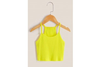 Cheerful Lime Yellow Ribbed Top