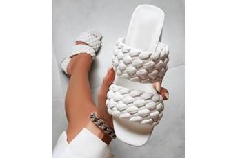 White twisted block heel