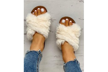 Fur & beyond flats off white