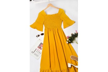 Women yellow solid maxi dress