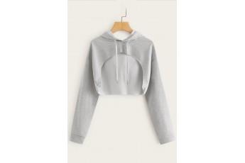 Trendy Crop Drawstring Grey Hoodie