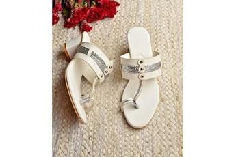 Charming white fusion heels