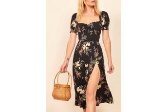Floral Front Slit Dress