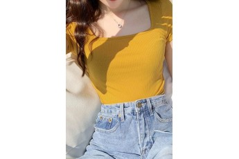 Mustard Color Fitted Rib Top
