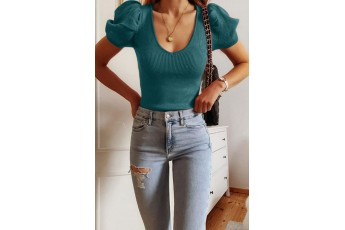 Turquoise Blue Puff Sleeve Rib Top
