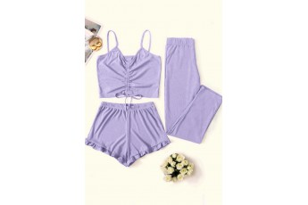 Ruched Drawstring Three- Piece Outfit