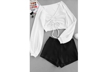 Drawstring Simplicity Shorts Two- Piece Outfit