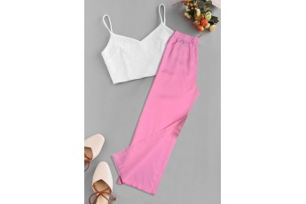 Set of 2 - White Sleeveless Crop Top With Pink Trouser