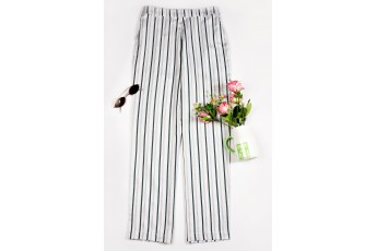 Striped Casual White Trouser