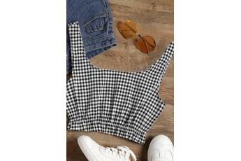 White & Black Check cut top