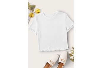Round neck white rib top