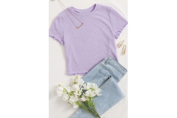 Lavender Round Neck Rib Top