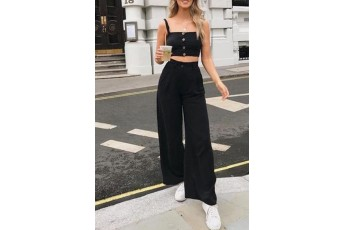 Wide-Leg Pant Two- Piece Outfit