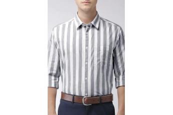 Grey White Striped Men Shirt