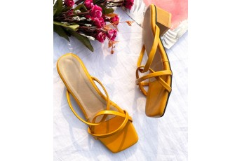 Turn and twist mustard heels