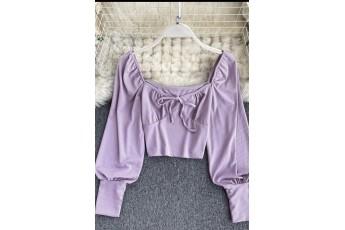 Full Sleeve Bow Lavender Top