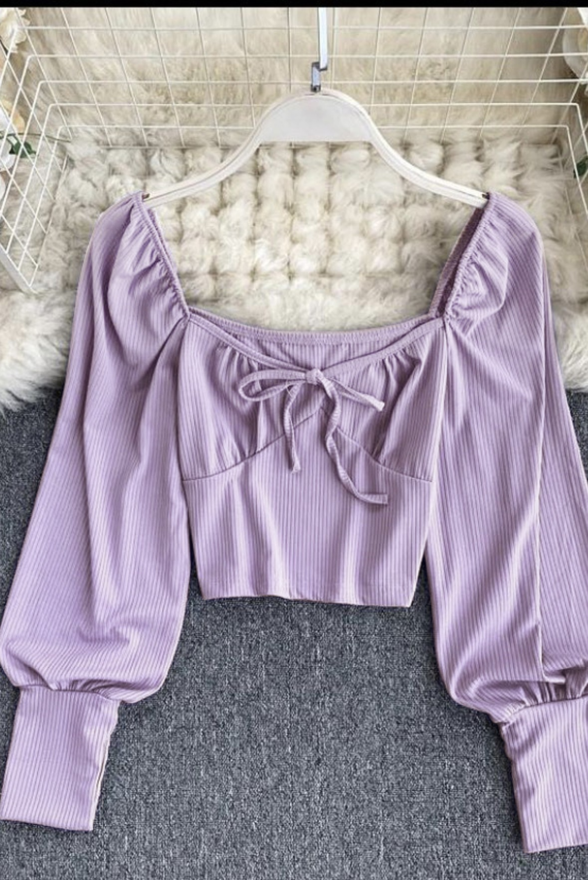 Full Sleeve Bow Lavender Top   Street Style Store
