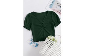 Dark Green Puff Sleeve Rib Top