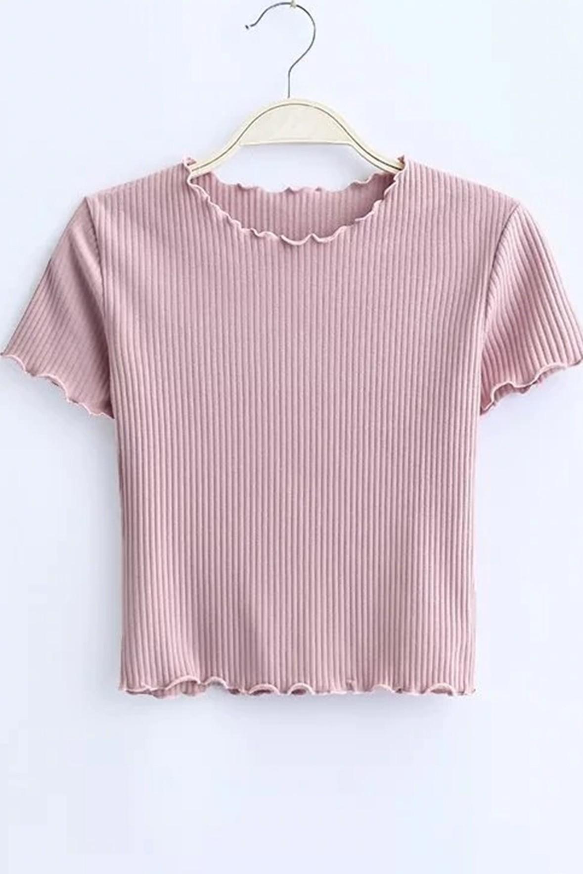 Pink round neck rib top