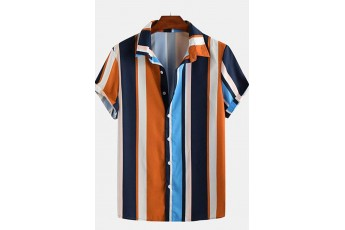 Orange and blue striped shirt