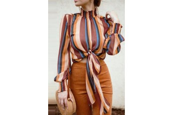 Stripe full sleeve knotted top