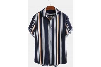 Dark blue stripe digital print shirt