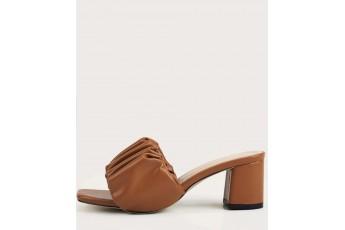 Ruffle up brown heel
