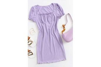 Lavender cute rib dress