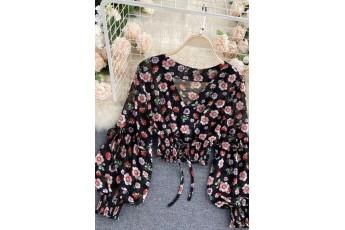Black Floral Top