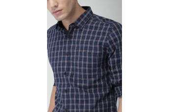 Navy Blue Plaid Men shirt