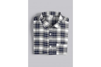 Grey-Blue Men Plaid Shirt