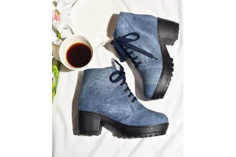 Blue brushed chunky boots